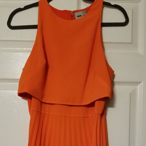 Asos Size 8 Maxi Pleated Dress (Orange/Red)